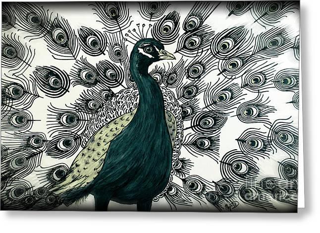 Spring Green Peacock Greeting Card by Megan Dirsa-DuBois