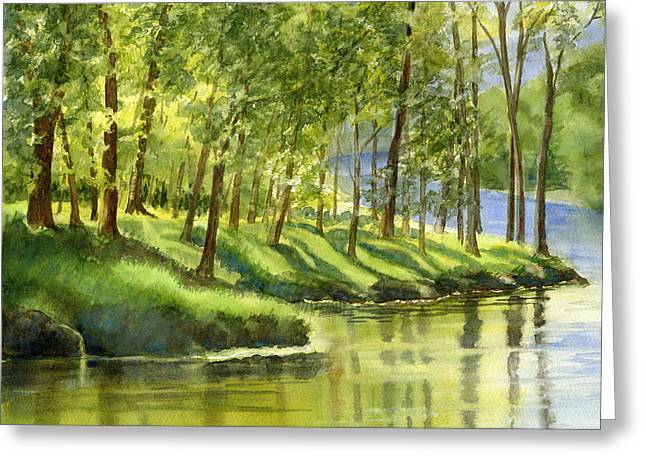 Spring Green Trees With Reflections Greeting Card by Sharon Freeman