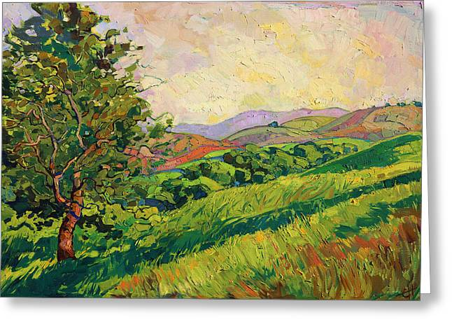 Greeting Card featuring the painting Spring Greens by Erin Hanson