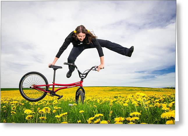Spring Has Sprung - Bmx Flatland Artist Monika Hinz Jumping In Yellow Flower Meadow Greeting Card by Matthias Hauser