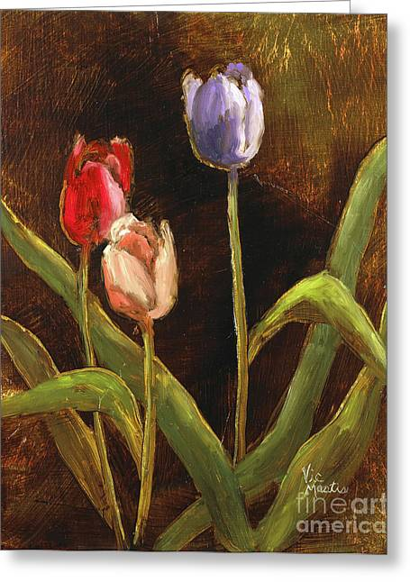 Greeting Card featuring the painting Spring Has Sprung by Vic  Mastis
