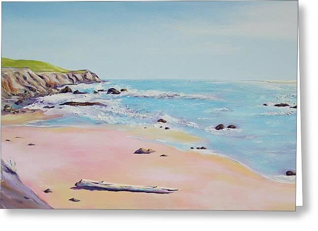 Spring Hills And Seashore At Bowling Ball Beach Greeting Card by Asha Carolyn Young