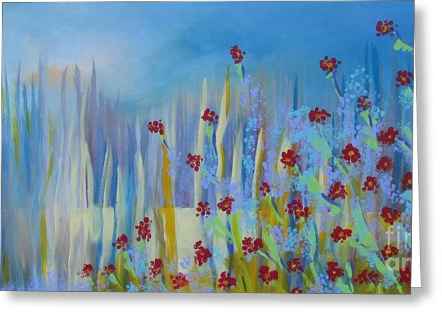 Greeting Card featuring the painting Spring Illusion by Nereida Rodriguez