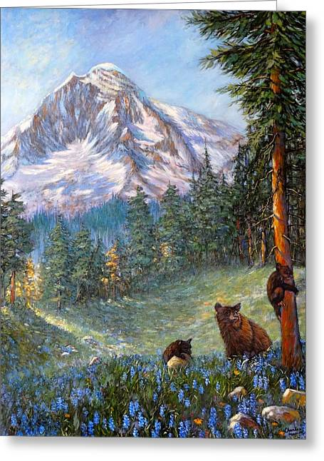 Greeting Card featuring the painting Spring In The Cascades by Charles Munn