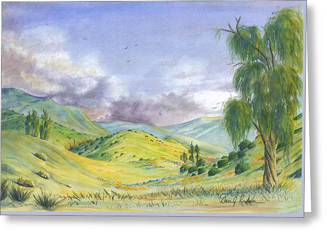 Greeting Card featuring the painting Spring In The Corona Hills by Dan Redmon