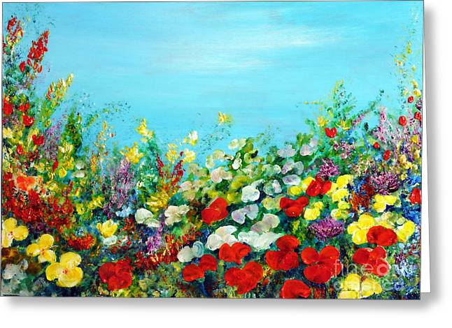 Greeting Card featuring the painting Spring In The Garden by Teresa Wegrzyn