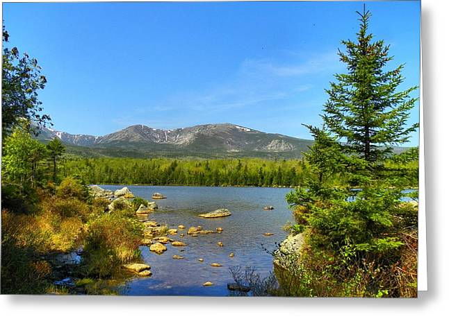 Greeting Card featuring the photograph Spring Katahdin by Gene Cyr