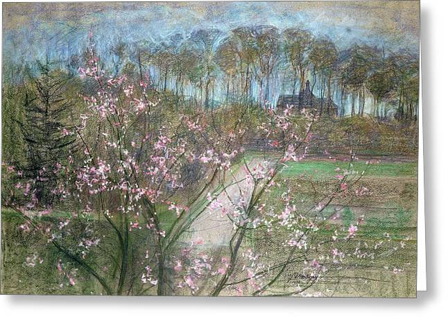 Spring Landscape Greeting Card by Jenny Montigny