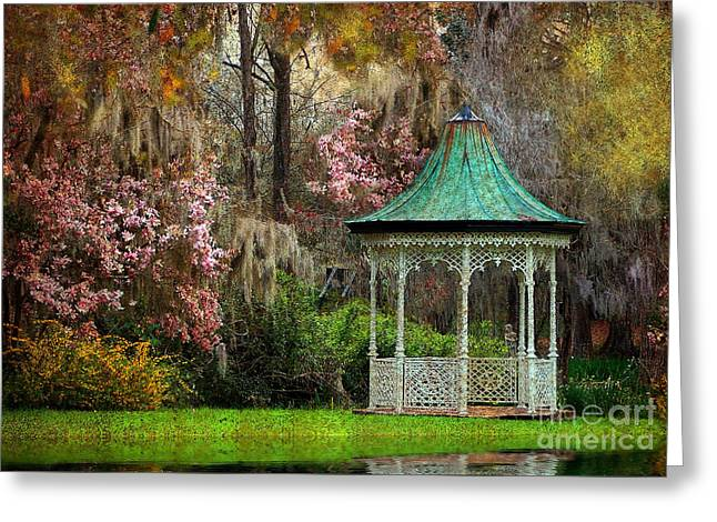 Greeting Card featuring the photograph Spring Magnolia Garden At Magnolia Plantation by Kathy Baccari