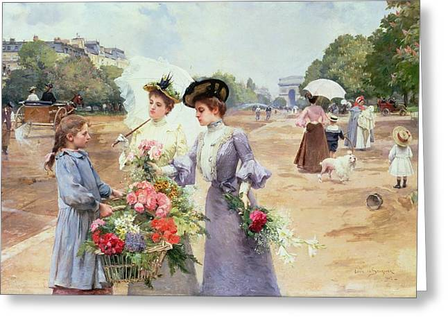 Spring Morning Greeting Card by Louis de Schryver