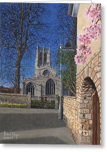 Spring Morning Brides Cottage Tickhill Yorkshire Greeting Card by Richard Harpum