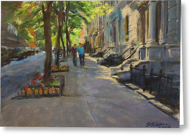 Spring Morning On West 85th Street Greeting Card