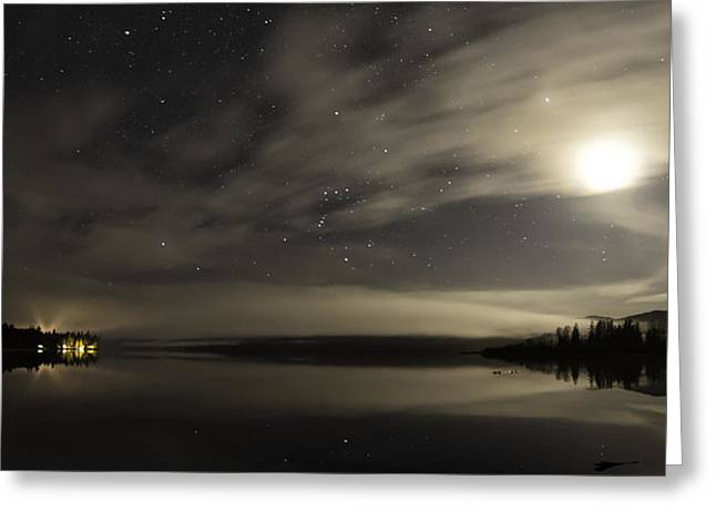 Misty Night On Lakelse Lake Greeting Card by Lisa Hufnagel