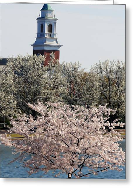 Spring On Fountain Lake Greeting Card