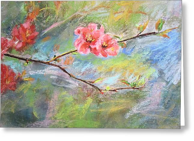 Greeting Card featuring the painting Spring Peach Blosom by Jieming Wang