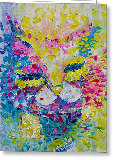 Spring Pink Cat Greeting Card
