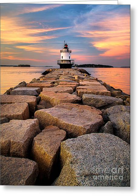 Spring Point Ledge Light Greeting Card by Benjamin Williamson