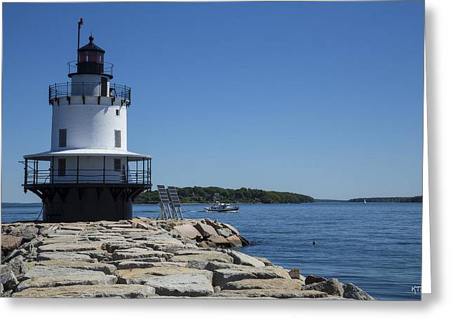 Spring Point Ledge Light Greeting Card by Karol Livote