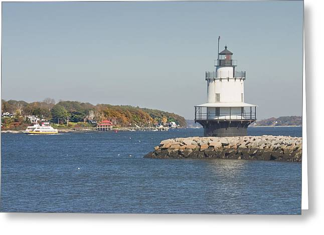 Spring Point Ledge Lighthouse On The Maine Coast Greeting Card