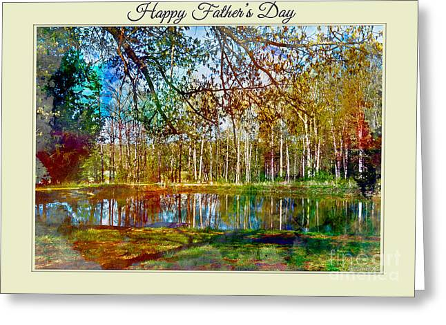 Spring Pond Photoart Father's Day Greeting Card by Debbie Portwood