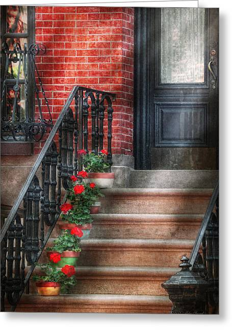 Spring - Porch - Hoboken Nj - Geraniums On Stairs Greeting Card by Mike Savad