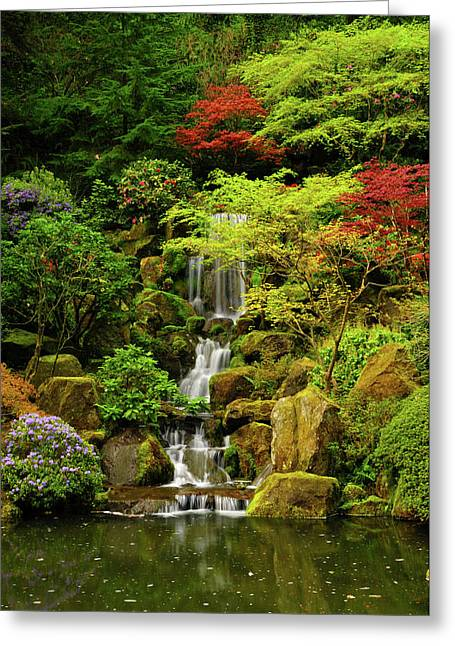 Spring, Portland Japanese Garden Greeting Card by Michel Hersen