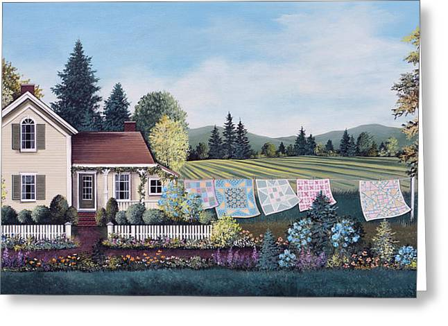 Spring Quilts Greeting Card by Debbi Wetzel