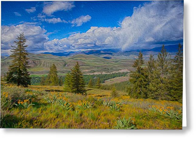 Spring Rain Across A Valley Greeting Card by Omaste Witkowski