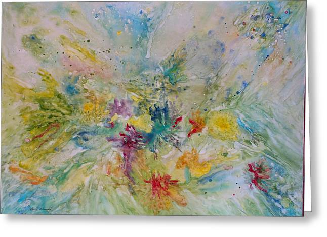Spring Rain Greeting Card by Rosie Brown
