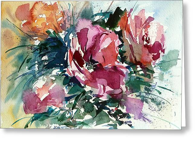 Spring Red Flowers Greeting Card by Mikko Tyllinen