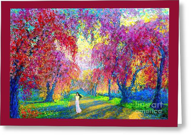 Spring Rhapsody, Happiness And Cherry Blossom Trees Greeting Card by Jane Small