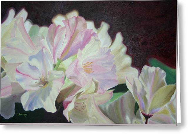 Greeting Card featuring the painting Spring Rhodys by Nancy Jolley