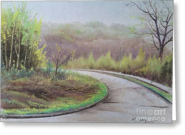 Greeting Card featuring the painting Spring Road by Rose Wang