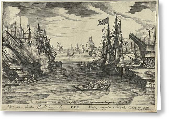 Spring, Robert De Baudous, Johannes Janssonius Greeting Card by Robert De Baudous And Johannes Janssonius And Nicolaas Jansz. Van Wassenaar