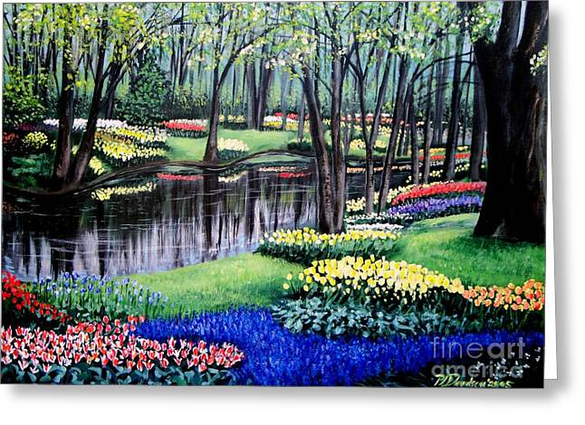 Greeting Card featuring the painting Spring Spendor Tulip Garden by Patricia L Davidson