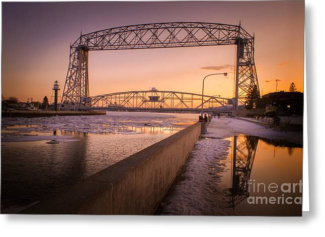 Greeting Card featuring the photograph Spring Sunset In Canal Park by Mark David Zahn Photography