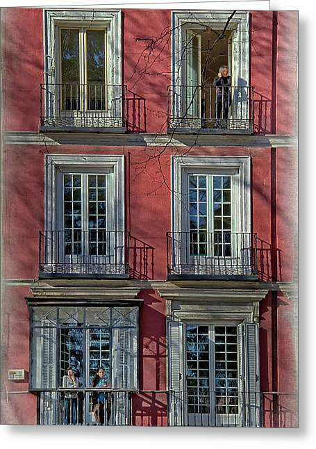 Spring Sunshine In Madrid Greeting Card by Joan Carroll