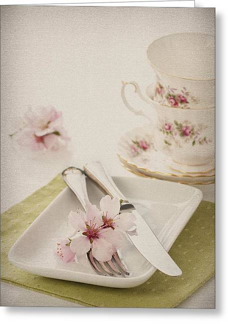 Spring Table Setting Greeting Card by Amanda Elwell