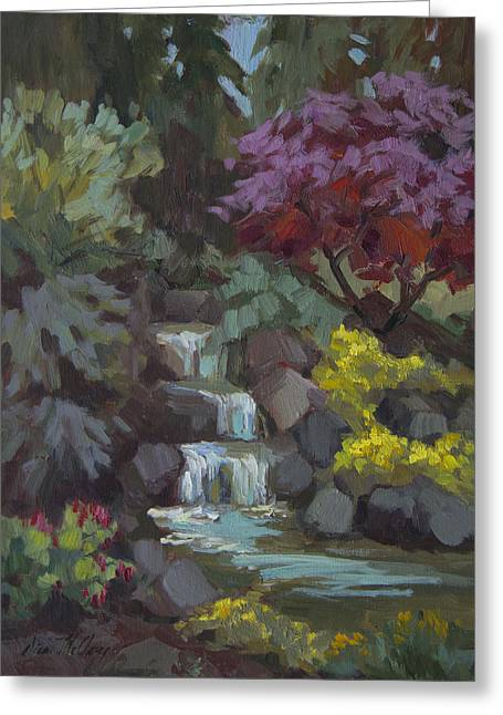 Spring Waterfall Greeting Card by Diane McClary