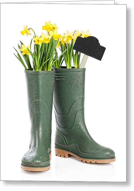 Spring Wellies Greeting Card