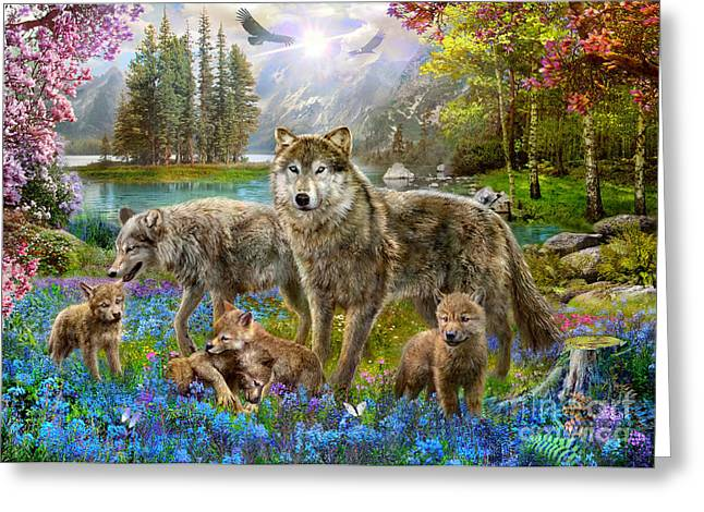 Spring Wolf Family Greeting Card by Jan Patrik Krasny