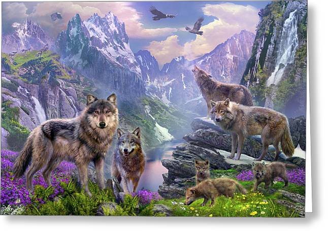 Spring Wolves Greeting Card