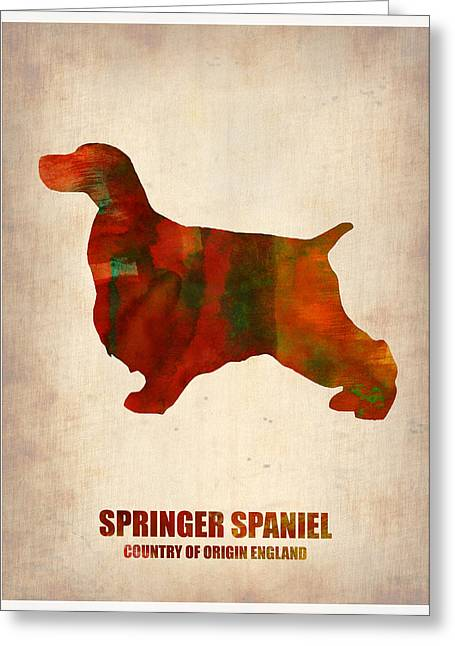 Springer Spaniel Poster Greeting Card by Naxart Studio