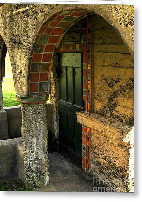 Springhouse Door At Fonthill  Greeting Card by Addie Hocynec