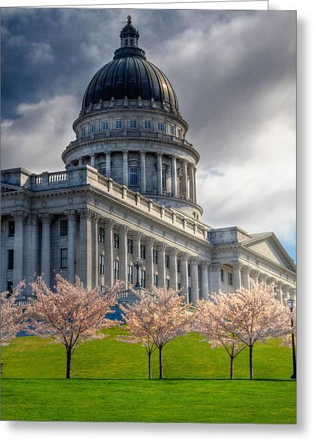 Springtime At The Utah State Capitol Building In Salt Lake City Greeting Card
