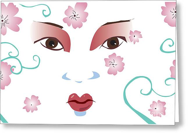 Springtime Geisha Greeting Card by Whitney Morton