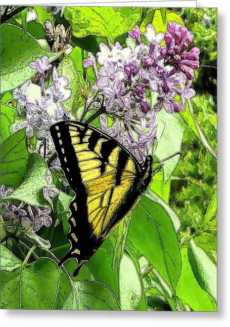 Springtime Moments- The Butterfly And The Lilac  Greeting Card by Patricia Keller