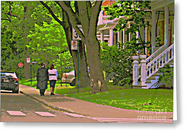 Springtime Stroll Through Beautiful Tree Lined Outremont Montreal Street Scene Art By Carole Spandau Greeting Card by Carole Spandau