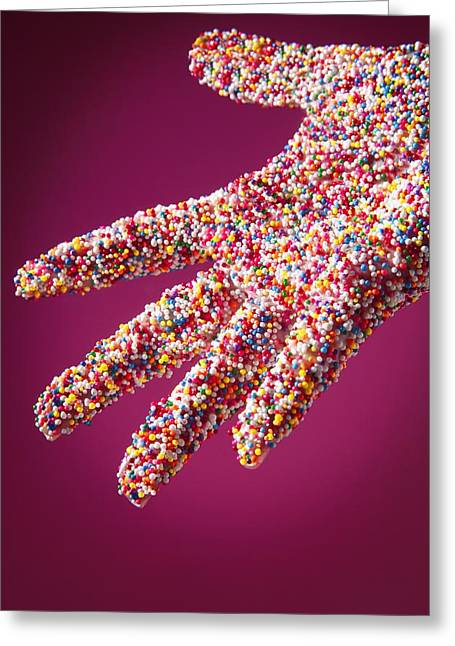 Sprinkle Covered Hand Greeting Card by Don Hammond