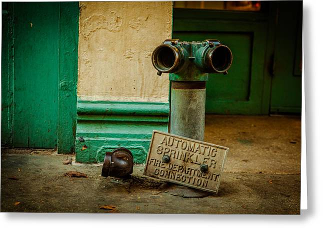 Sprinkler Green Greeting Card by Melinda Ledsome